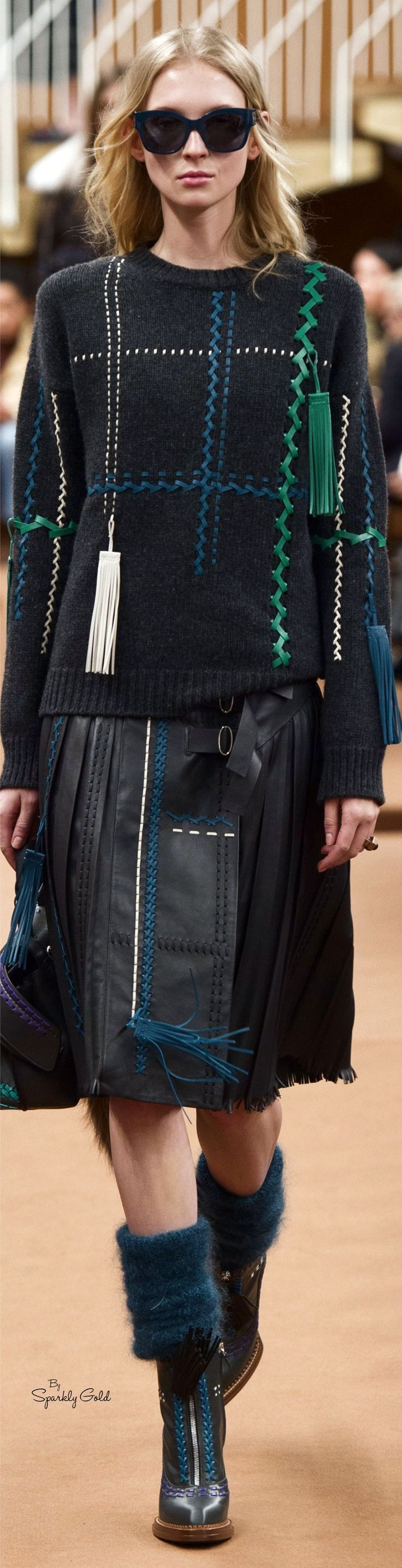 Tod's F-16 RTW: embellished sweater, matching leather skirt.