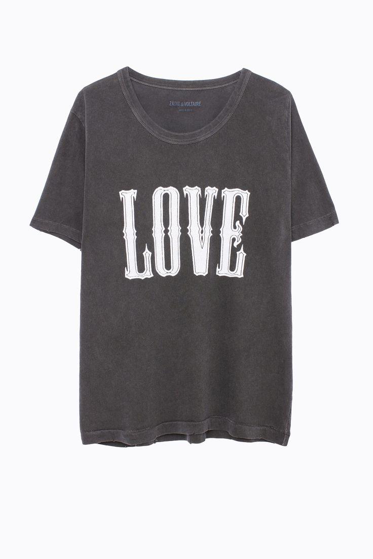 T-Shirt Walk Overdyed, kohlschwarz, Zadig & Voltaire
