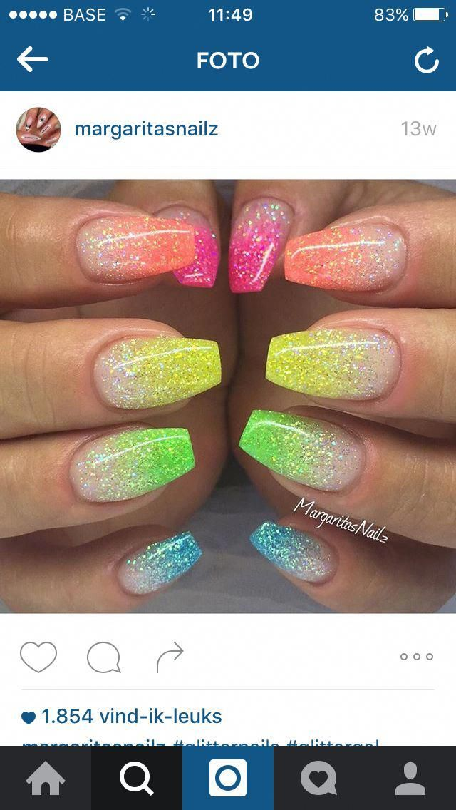 Summer Nail Art Easy Nailcolorsforsummer Neon Glitter Nails