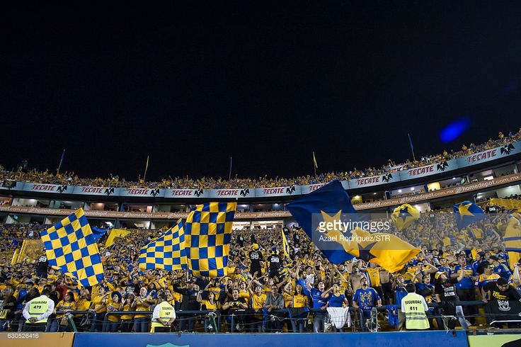 Fans of Tigres wave flags during the Final second leg match between Tigres UANL and America as part of the Torneo Apertura 2016 Liga MX at Universitario Stadium on December 25, 2016 in Monterrey, Mexico.