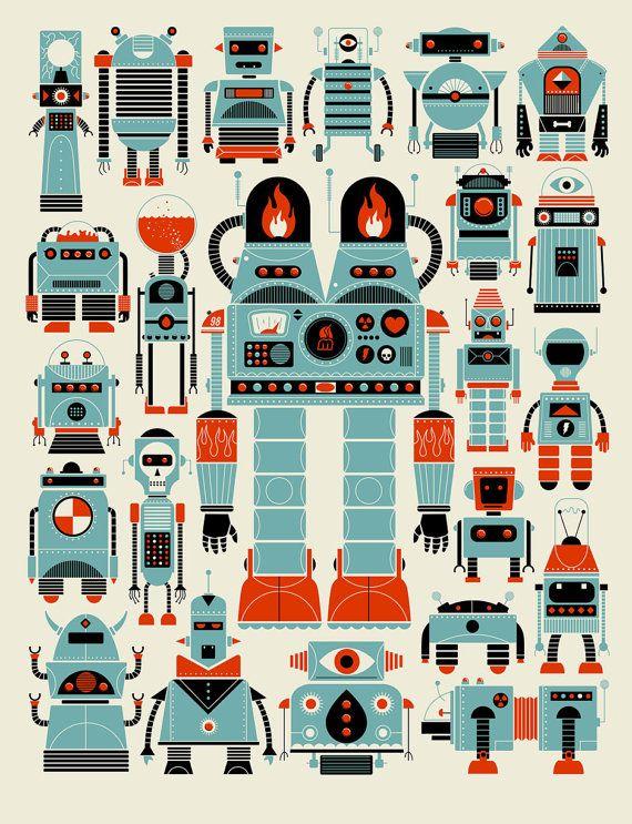 18x24 screenprint on archival paper.   Atlanta's Methane Studios  Robots by methanestudios on Etsy, $25.00