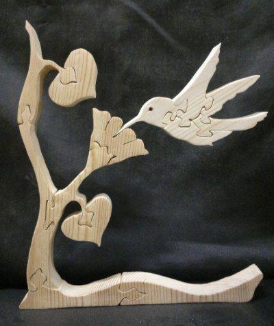 Puzzle aus Holz sägen - Kolibri mit Blume und Baum