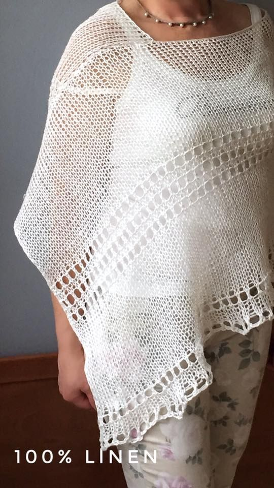 Knitted linen poncho Summer white poncho Natural fibers poncho Organic poncho Eco clothes