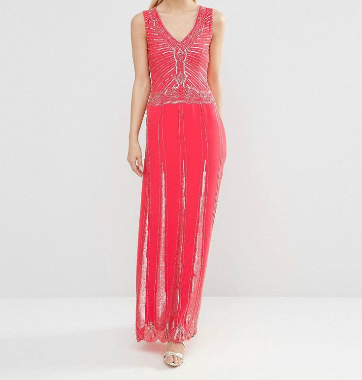 Womens Ladies New Long Maxi Coral Beaded Embellished Party Occasion Dress 6-16 | Clothes, Shoes & Accessories, Women's Clothing, Dresses | eBay!