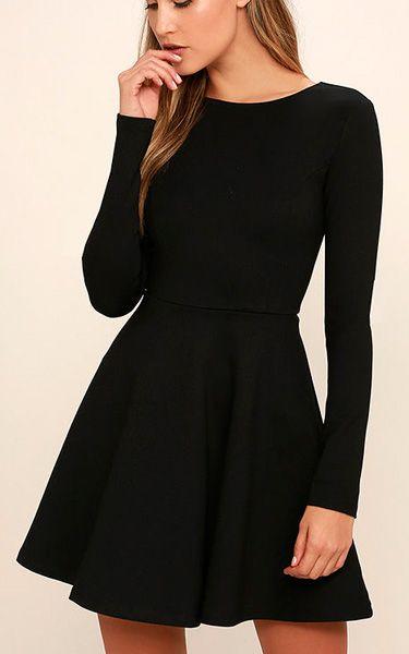 Forever Chic Black Long Sleeve Dress via @bestchicfashion