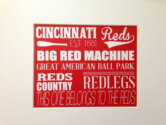 Cincinnati Reds Wall Art,  Reds Baseball Sign, Cincinnati Reds Gift Ideas on Etsy, $15.00