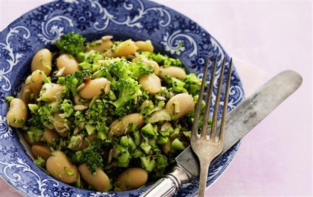 Butterbeans med broccoli og solsikkekerner