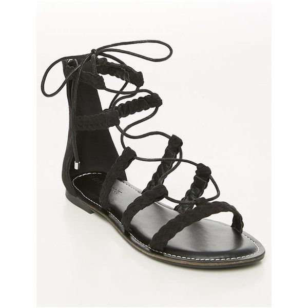 Lane Bryant Braided Gladiator Sandal ($40) ❤ liked on Polyvore featuring shoes, sandals, black, plus size, tie gladiator sandals, gladiator sandals, black sandals, black strappy shoes and black strap sandals