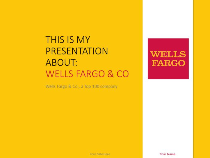 Free Wells Fargo PowerPoint template with yellow and white colors.