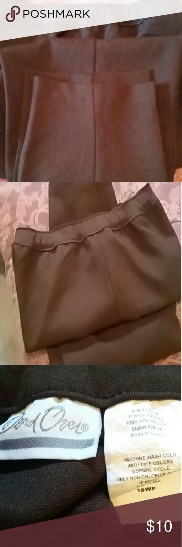 Bend Over Pants Dark brown wide elastic waist  band, 100% polyester, very little ironing, very good condition ,size is 18W P, but fits  a 16W P Bend Over  Pants Trousers