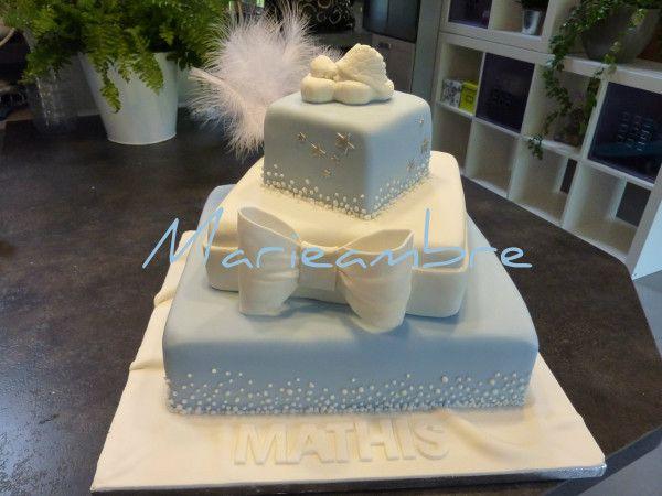 photos gateau bapteme | Gâteau baptême 3 étages, ange, bleu et blanc