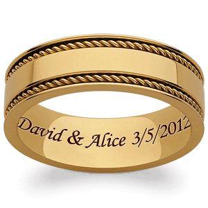Best Gold Titanium Braided Polished Engraved Band
