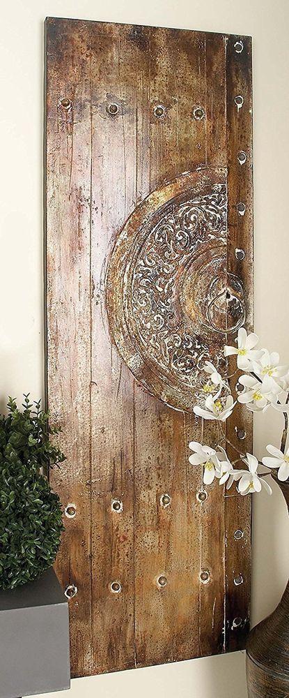 Distressed Rustic Meval Old World Wood Metal Canvas Door Panel Set 2 Wall Art Unbranded Doorwallpanel