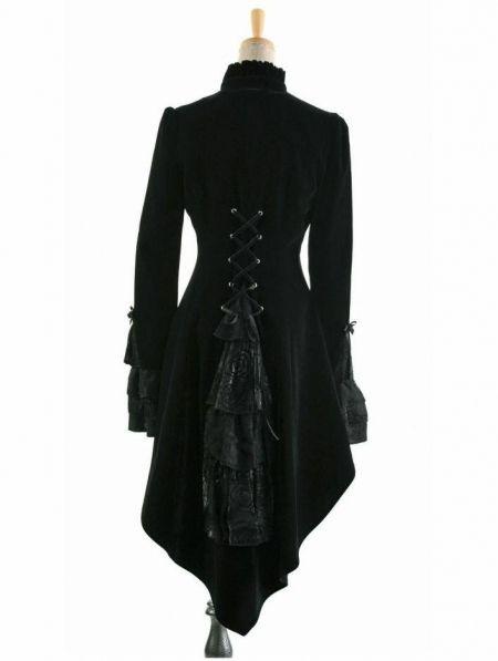 women tuxedo   Home > Gothic > Black High-Low Tuxedo Style Gothic Jacket for Women