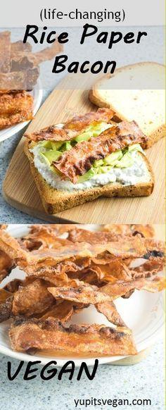 "Vegan Rice Paper Bacon   http://yupitsvegan.com. This amazing crispy, smoky, savory vegan ""bacon"" is made from rice paper! Gluten-free recipe."