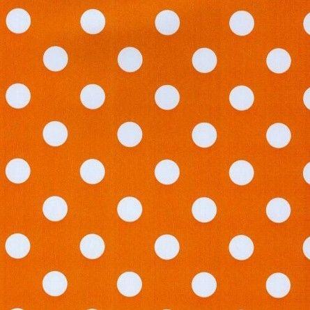 Tafelzeil+Oranje+met+Stippen+-+Vrolijk+oranje+tafelzeil+met+witte+stippen+van+15mm.+Dit+tafelzeil+valt+soepel+om+uw+tafel+en+is+140cm+breed.+Het+tafelkleed+is+makkelijk+schoon+te+houden,+dus+ideaal+voor+mensen+met+kinderen.+Kies+de+gewenste+lengte+en+we+snijden+het+tafelzeil+voor+u+op+maat.