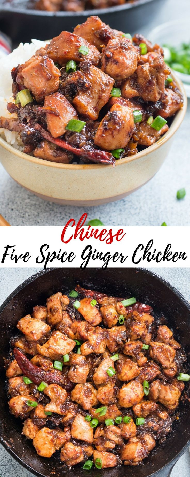 Quick Chinese Five Spice Ginger Chicken is Sweet and Spicy with perfectly caramelized sauce. Easy, quick and you only need one pan.