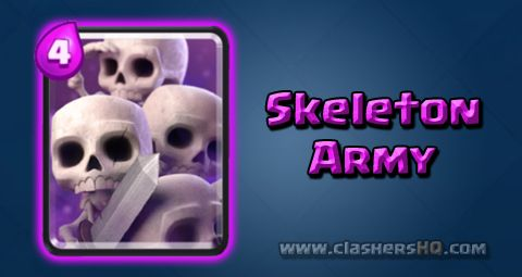Find out all about the Clash Royale Skeleton Army Card. How to get Skeleton Army & attack/counter Skeleton Army effectively.