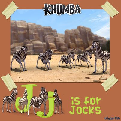 J is for jocks! Themba and the football jocks aren't the smartest zebras in the herd but at least they always remember to do warm-up stretches before the game. NOW on smartphones too!  MORE GAMES / APPS OUT SOON !!!  #KhumbaTheGAME #GongRocker