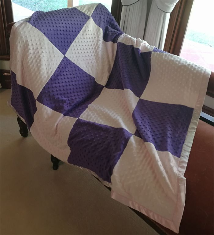 Large pink and purple patchwork minky baby blanket