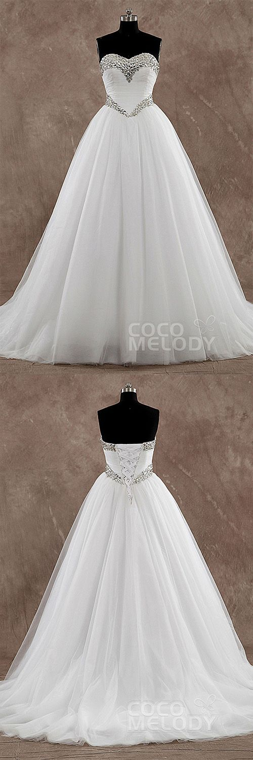 Princess Sweetheart Basque Train Tulle Ivory Sleeveless Wedding Dress with Crystal LD3571 #weddingdresses #princessdresses #customdresses #cocomelody