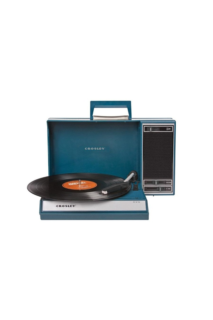 CROSLEY RADIO SPINNERETTE- BLUE @ Jack Threads  //  I have this and it's fantastic. Plays vinyl in a small vintage case. USB jack so you can plug in to your computer to record! Excellent.