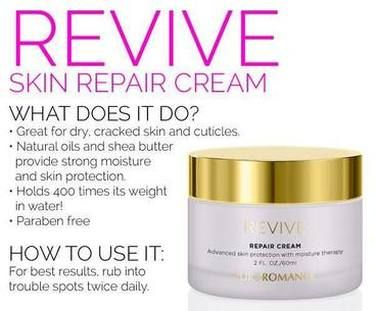 Pure Romance Revive! Specially formulated for cuticles and extremely dry, cracked skin. When your feet and elbows are cracked and dry, revive will bring them back to life! Amazing product! Shop at MyToyParty.com