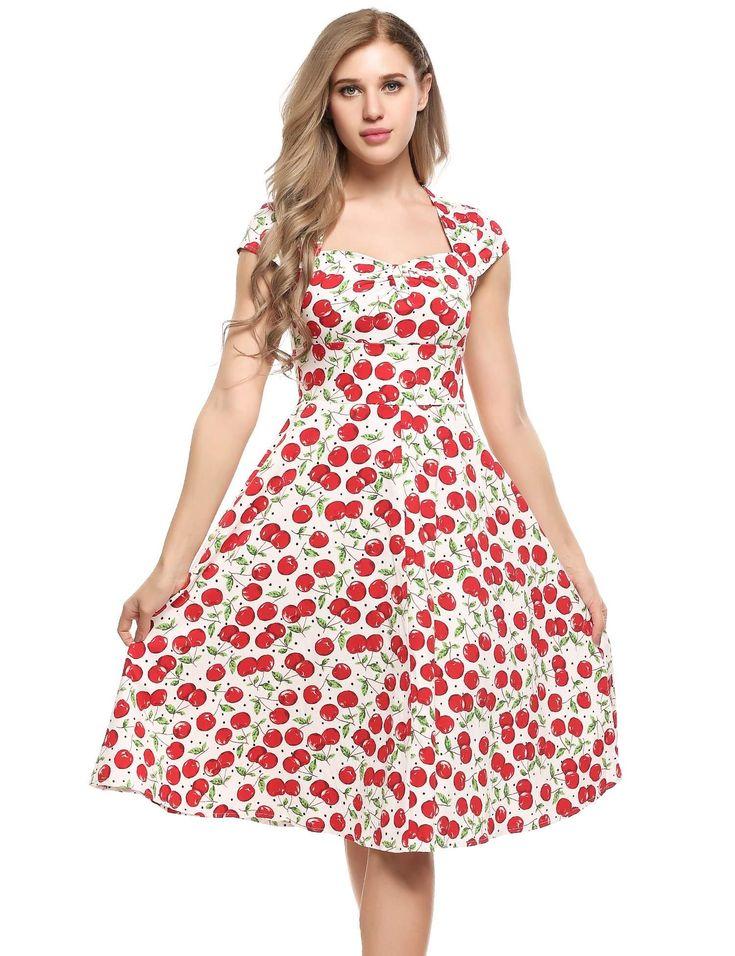Blanco rojo Mujeres Vintage Estilos V-cuello Cap Sleeve Impresiones A-Line vestido plisado Hem dresslink.com