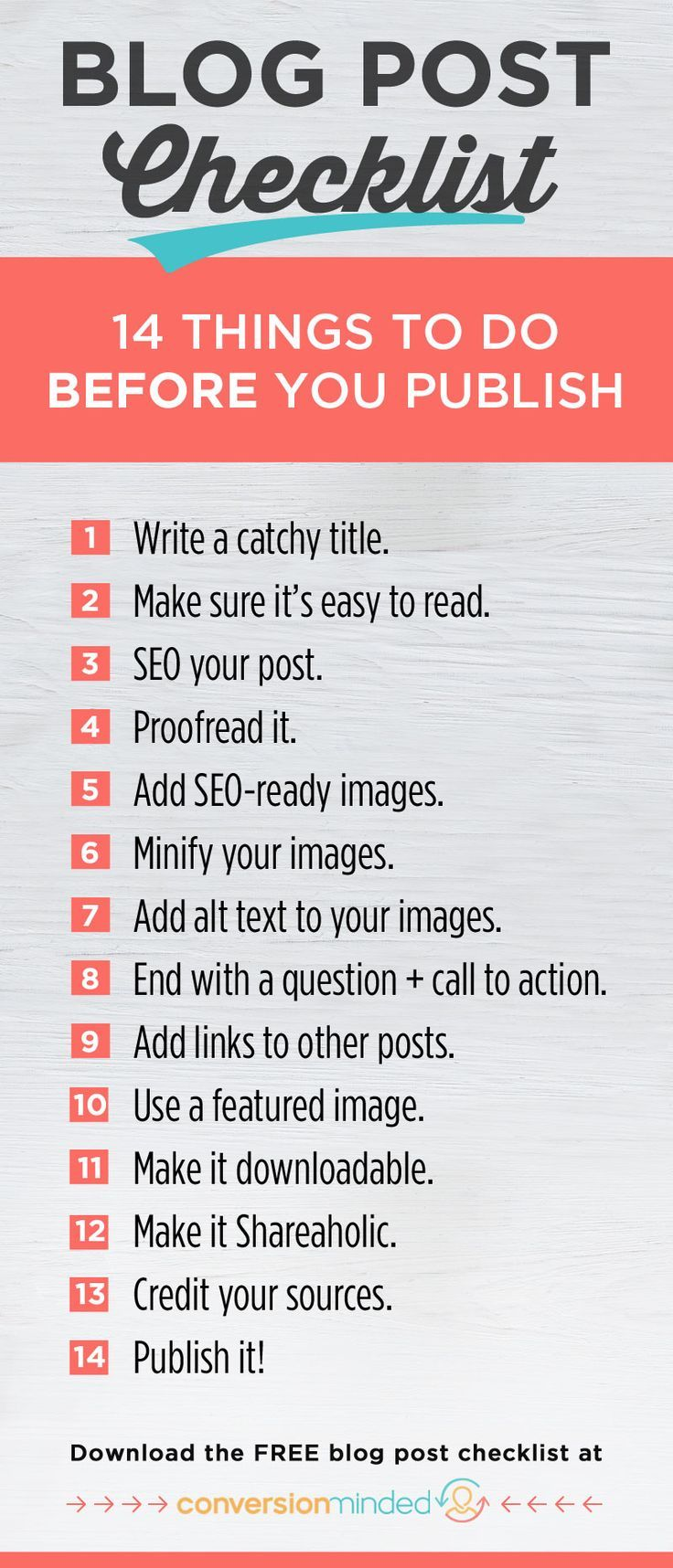 This blog checklist includes 7 essential things you should do as soon as your posts go live to get traffic to them. blog post checklist printable, before publishing blog, blog to do list #blogging #checklist