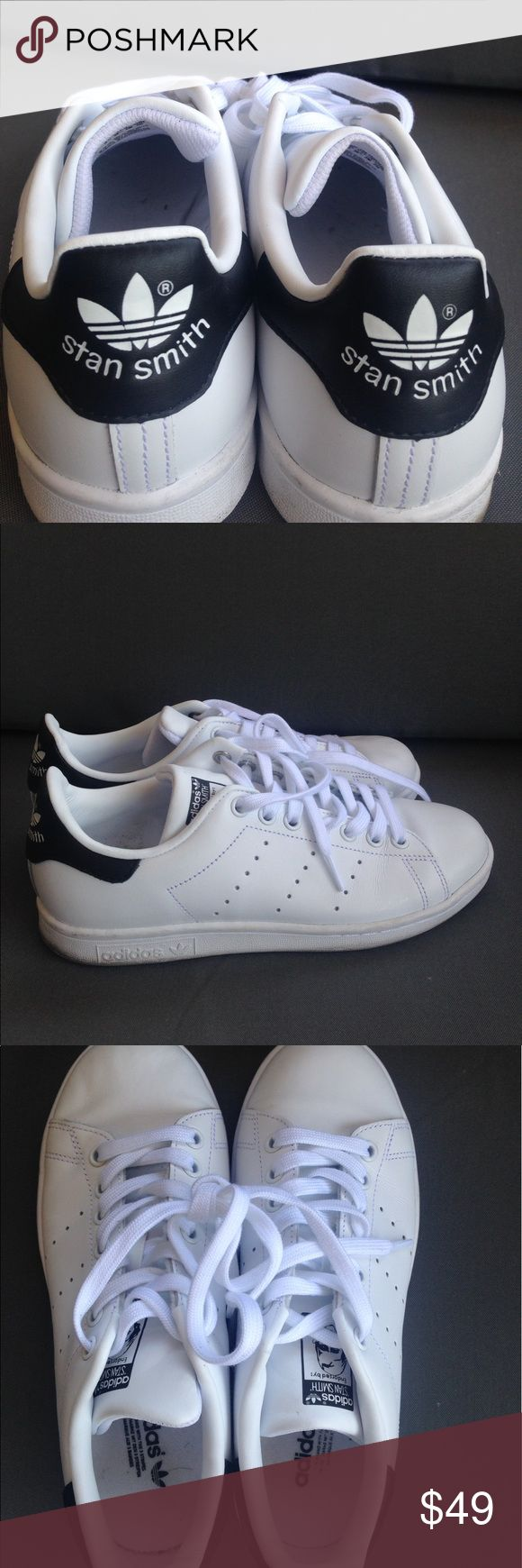 ADIDAS Stan Smith Navy Blue Really clean and white, only worn a couple times with crisp white laces! Super trendy and comfortable Stan Smith Adidas Adidas Shoes Sneakers