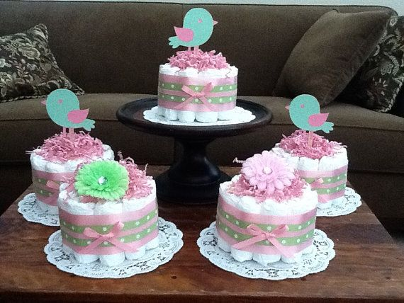 Pink and Green Flower diaper cakes Baby by bearbottomdiapercakes, $12.00