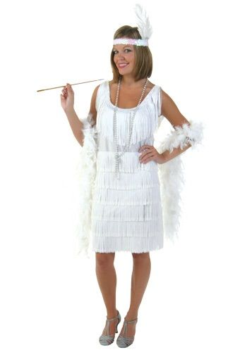 This white fringe flapper girl costume is a brilliant white color and comes complete with matching sequin and feather headband.
