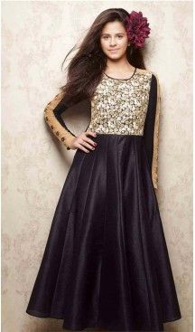 Black Color Silk A-line Style Party Wear Kids Gown Dress | FH519678923 #girls , #dress , #anarkali , #lehenga , #party , #gowns , #designer , #fashion , #boutique, #baby , #teenagers , #cloth , #readymade , #salwar , #kameez , #wear , #heenastyle , #online , @heenastyle , #ashin , #indian , #dupatta , #churidar , #ethnic