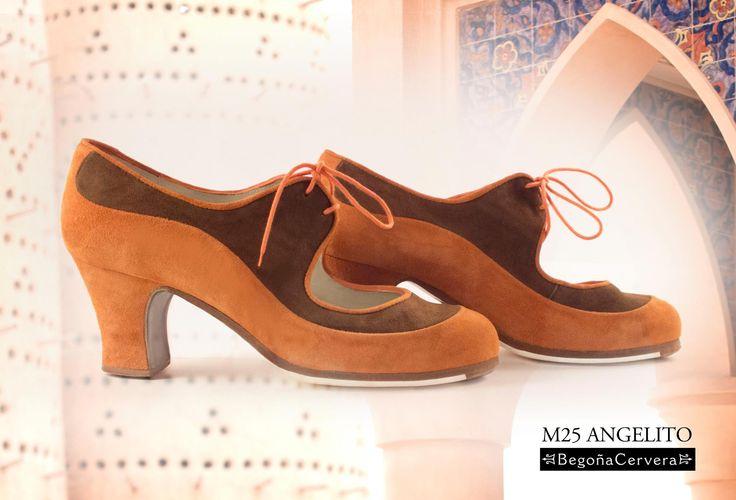 https://www.tamaraflamenco.com/es/zapatos-de-flamenco-profesionales-4 Zapato profesional de flamenco Begoña Cervera Modelo Angelito ante naranja y marron