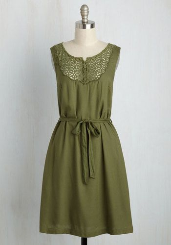 Back in the Seattle Dress by ModCloth - Green, Solid, Casual, Shift, Short Sleeves, Fall, Knit, Lace, Best, Exclusives, Private Label, Summer