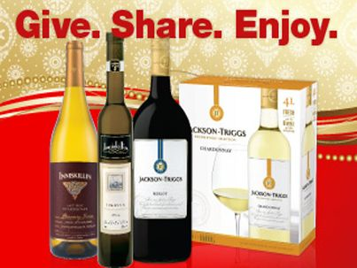 Check out these Holiday Specials from Winerack!:   Jackson-Triggs Sauv Blanc 1.5 Now $15.95 Save $2.00 Jackson-Triggs Merlot 1.5 Now $15.95 Save $2.00 Jackson-Triggs Chardonnay 4L Now $37.95 Save $4.00 Inniskillin Gift Box $27.90
