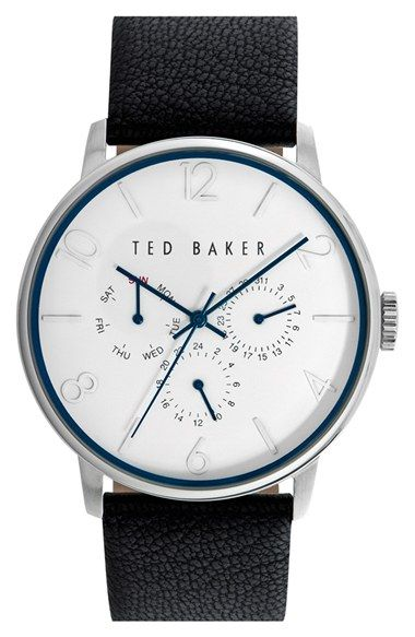 Free shipping and returns on Ted Baker London Multifunction Leather Strap Watch, 42mm at Nordstrom.com. Subtle numbered indexes enhance the clean style of a minimalist round watch complete with handy day, date and 24-hour subdials.