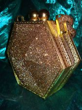 VINTAGE1940'S*ORIGINAL FRE-MORE CREATION BRONZE BEADED GOLD METAL FRAME PURSE!!!