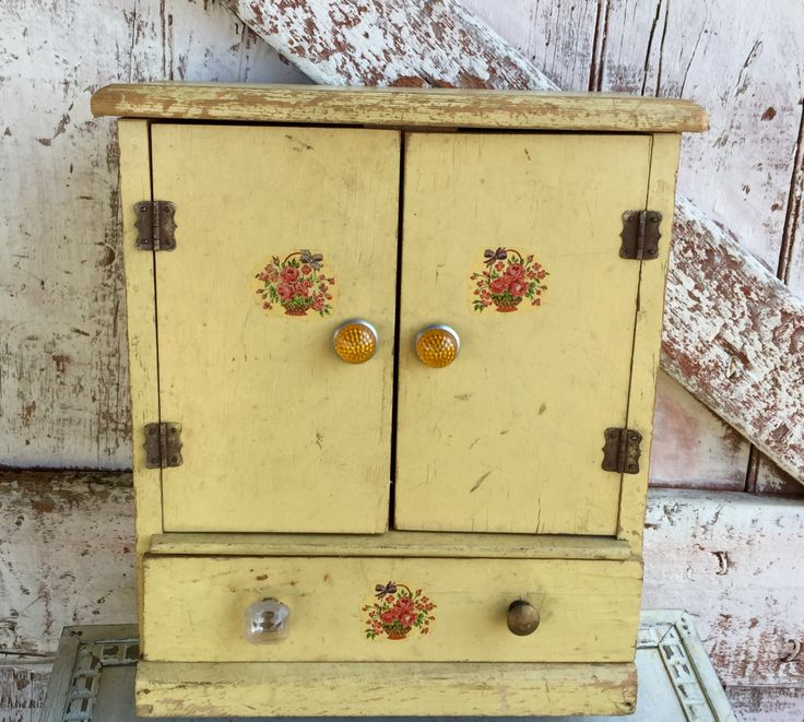Wooden yellow box with doors drawers vintage jewelry box chest by LititzCarriageHouse on Etsy