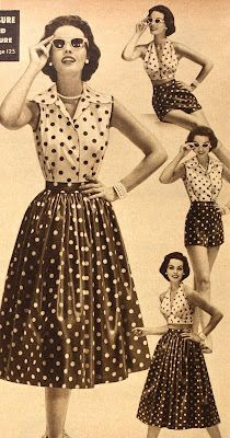 Tuppence Ha'penny: vintage retro 1950s interchangeable outfits / playsuits. Skirts shirts shorts bras. Polka dots.