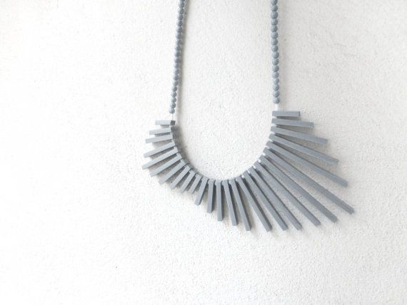 tribal geometric necklace - grey sticks and beads - contemporary jewelry