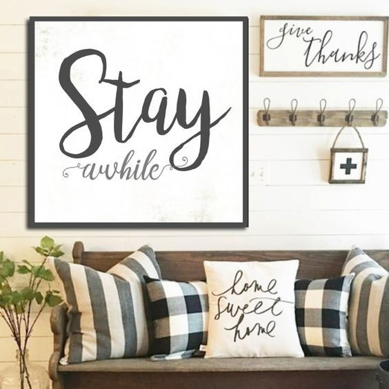Stay awhile sign gift for her white farmhouse sign fixer for Room decor signs