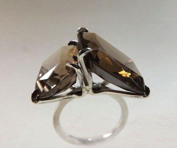 Contemporary Modern Minimal Ring Smokey by BonTonContemporary