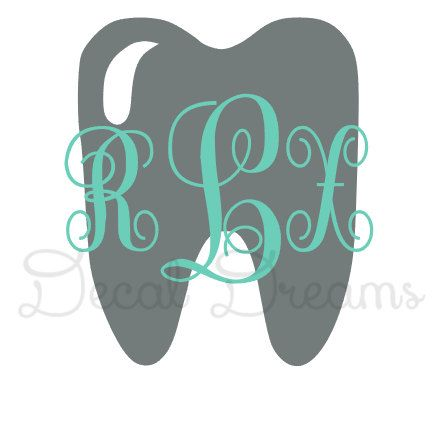 Tooth Dentist Dental Hygienist Monogram Vinyl Decal Dental Assistant Student Monogram Cute Girly Car Decal Phone Laptop Window Teeth Tooth on Etsy, $5.00