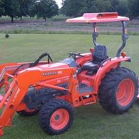 Fiberglass Tractor Canopy with Down-Draft Fan - Orange