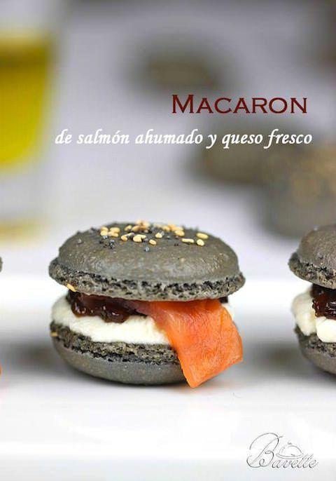Macarons de salmón ahumado y queso crema