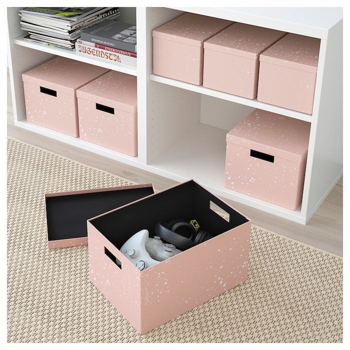 Tjena Storage Box With Lid Pink Ikea Bedroom Storage Boxes Storage Boxes With Lids Cute Storage Boxes
