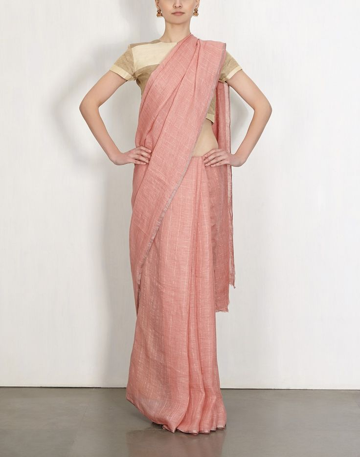 Rouge Grid Linen Sari by Anavila
