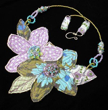 mixed-media jewelry/ stitched vintage fabric flower, wire and sead beads, beaded chain, sterling silver hand wrought clasp. - Media - Cloth Paper Scissors