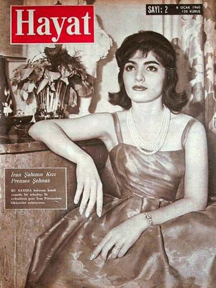 Princess Shahnaz is seen here in a 1960 issue of a Turkish Magazine HAYAT. She is the daughter of the Shah and Princess Fawzia of Egypt.